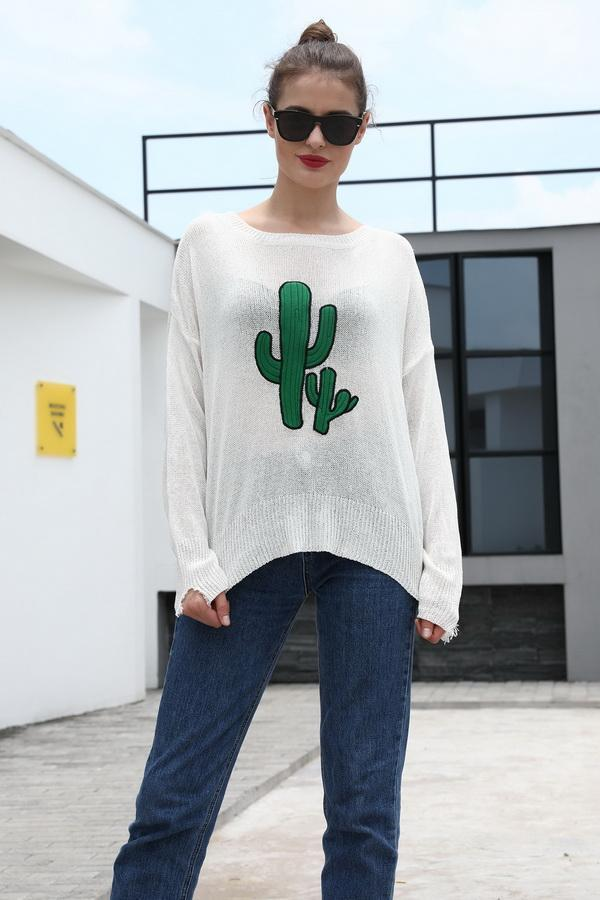 Round Neck Cactus Hole Sweater