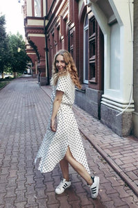 Bow Tie V Neck Dot Button Dress