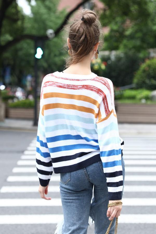 Contrast Color Striped Stitching Sweater