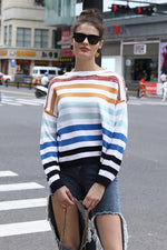 Load image into Gallery viewer, Contrast Color Striped Stitching Sweater