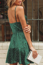 Load image into Gallery viewer, Vintage Green Polka Dot Stain Dress