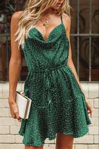 Vintage Green Polka Dot Stain Dress