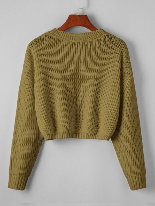 Drop Shoulder Solid Crop Sweater