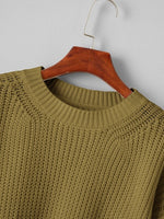Load image into Gallery viewer, Drop Shoulder Solid Crop Sweater