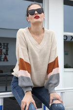 Load image into Gallery viewer, V-Neck Contrast Color Loose Sweater