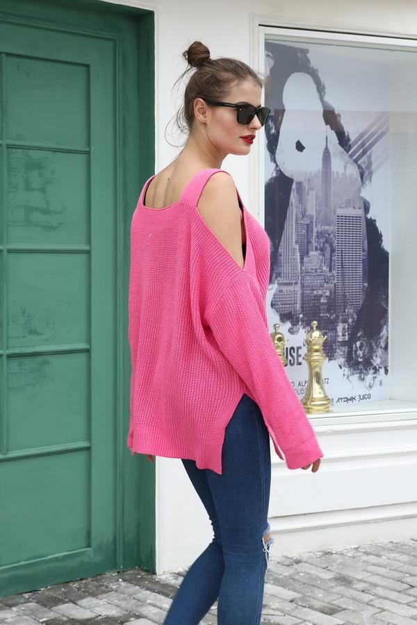 Long Sleeve Off-The-Shoulder Sweater