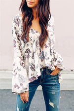 Load image into Gallery viewer, V-Neck Backless Floral Blouse