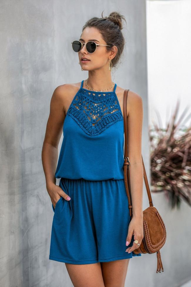 Sleeveless Lace Hollow Halter Jumpsuits
