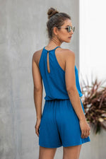 Load image into Gallery viewer, Sleeveless Lace Hollow Halter Jumpsuits