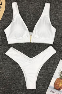 Two Pieces Zipper Solid Color Swimsuit