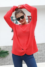 Load image into Gallery viewer, Long Sleeve Knotted Solid Color Sweater