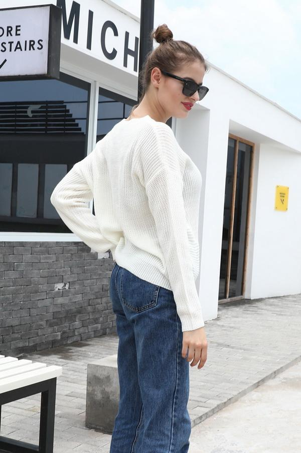 Long Sleeve Knotted Solid Color Sweater