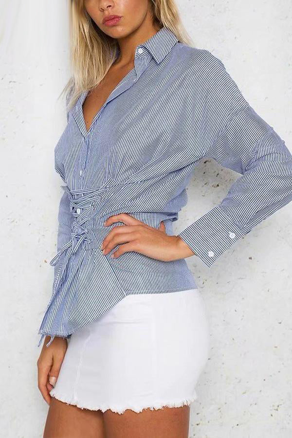 Solid Color Lace Up Shirt