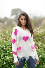 Load image into Gallery viewer, V-Neck Heart-Shaped Knit Sweater