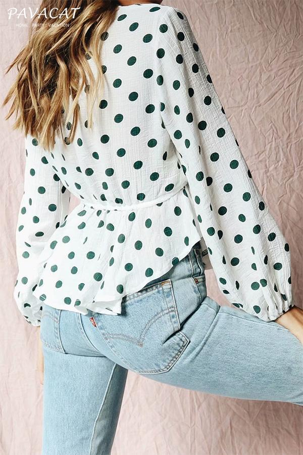 Polka Dot Lantern Sleeve Blouse