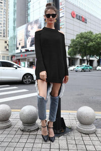Open Back Solid Color Sweater