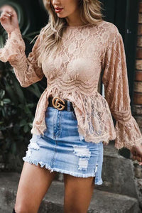 Pink Flare Sleeve Lace Hollow Out Top