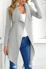 Load image into Gallery viewer, V-Neckline Tie Irregular Elastic Cardigan Sweater