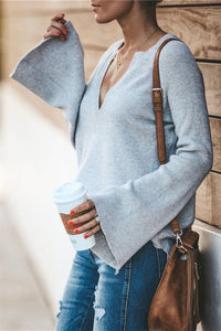 Commuter V-Neck Loose Knitted Shirt