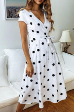 Load image into Gallery viewer, Deep Neck Wrap Midi Dress - Polka Dot Print