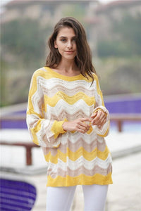 Striped Knitted Loose Hollow Thin Sweater
