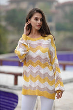 Load image into Gallery viewer, Striped Knitted Loose Hollow Thin Sweater