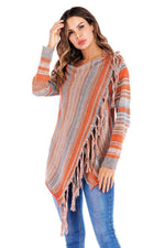 Load image into Gallery viewer, Single Button Tassel Asymmetrical Hem Shawl