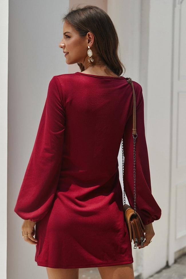 Long Sleeve Tie Casual Dress