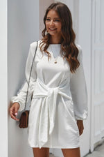 Load image into Gallery viewer, Long Sleeve Tie Casual Dress