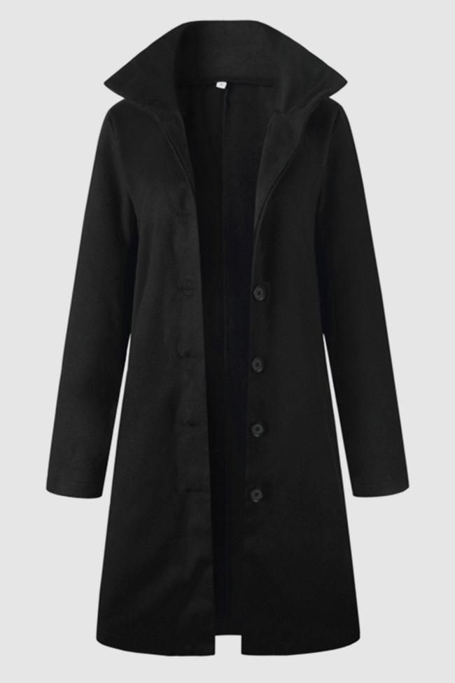 Turn Down Collar Single Breasted Coat