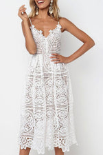 Load image into Gallery viewer, Backless Lace Midi Dress