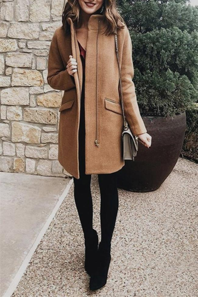 Elegant Double Pockets Zipper Coat