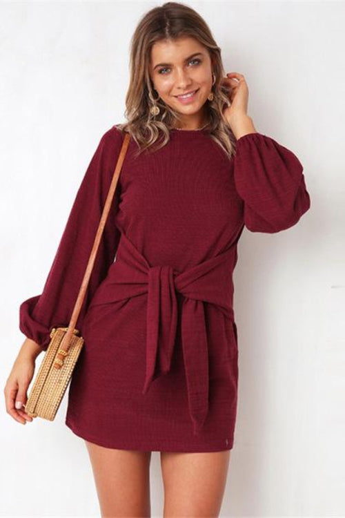 Waist Bow Knot Mini Dress