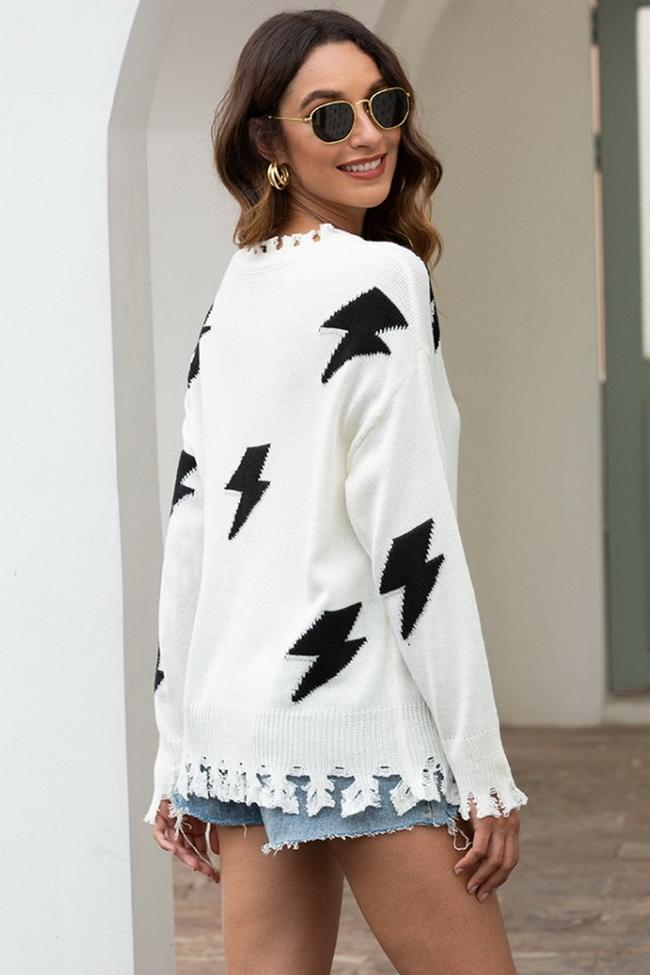 Flash Tassels Sweater - White