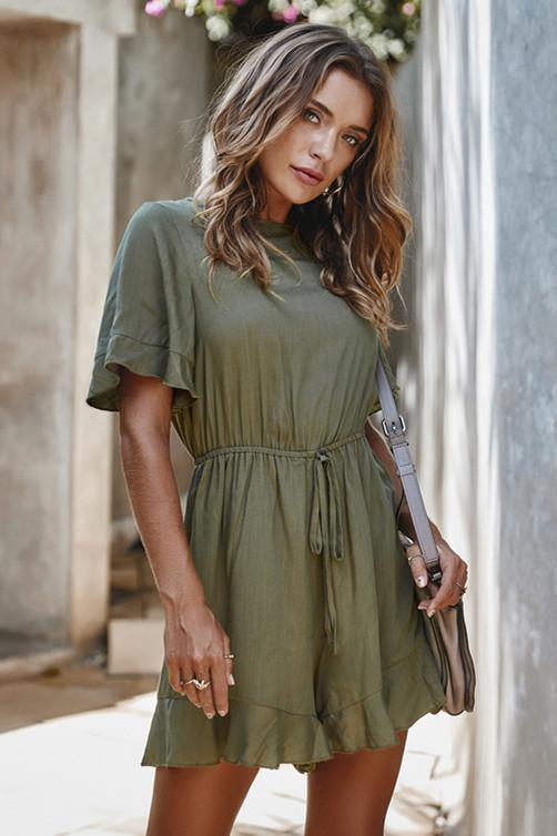 Elegant Short Sleeve High Waist Romper
