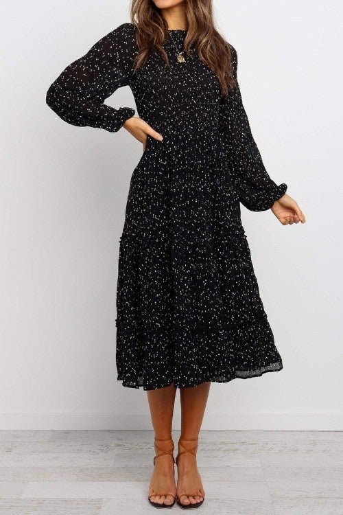 Polka Dotted Black Ruffle Midi Dress