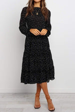Load image into Gallery viewer, Polka Dotted Black Ruffle Midi Dress