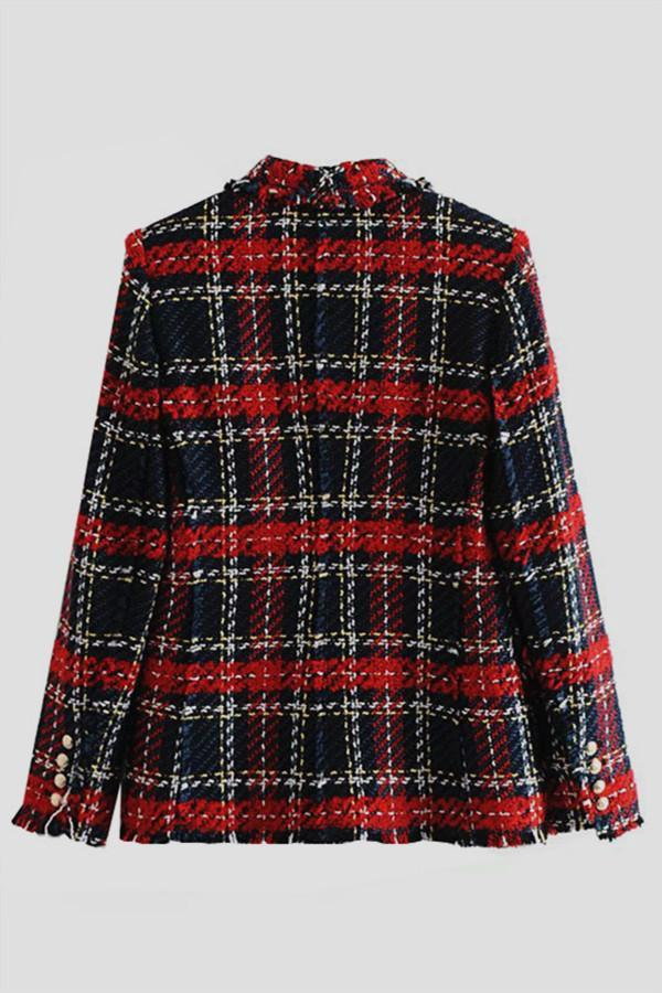 Double Breasted Frayed Checked Tweed Blazer