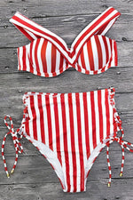 Load image into Gallery viewer, Stripe Vintage High Waist Bikini