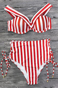 Stripe Vintage High Waist Bikini