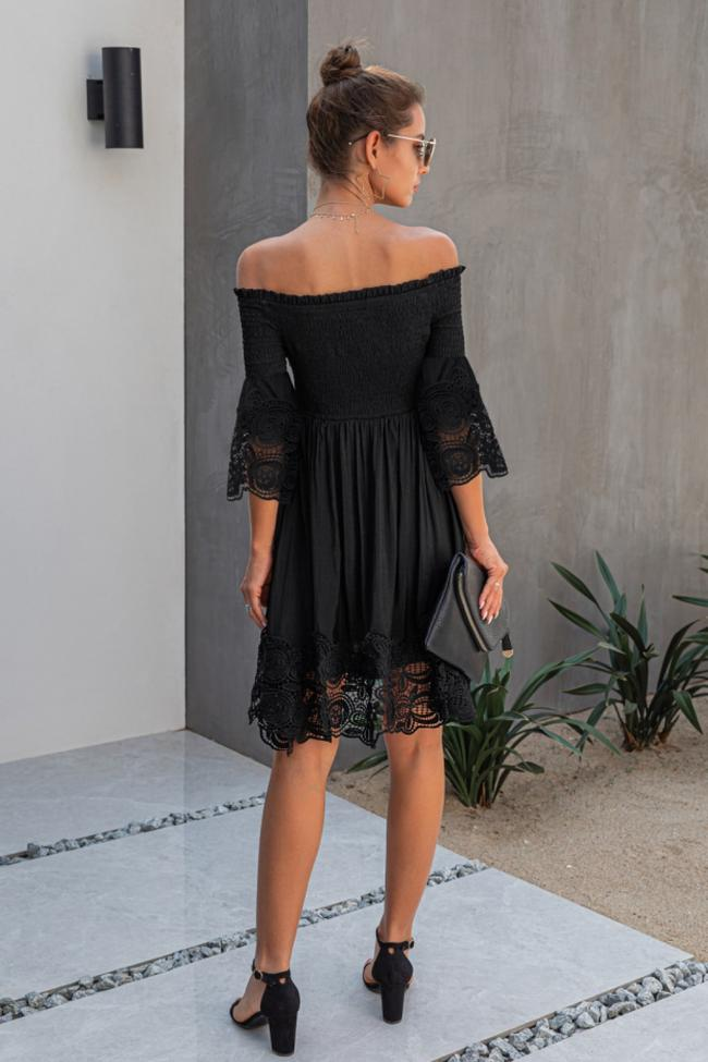 Shoulder Plain Lace Dress