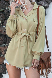 Casual Loose Buttons Sash Belt Blouse Shirt