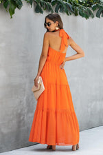 Load image into Gallery viewer, Halter Backless Plain Dress
