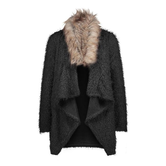 Fluffy Lapel Faux Fur Coat