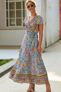 Boho Deep Neck Maxi Dress - Floral Print