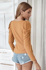 Load image into Gallery viewer, Square Collar Knitted Thin T-Shirt Long Sleeve