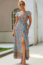 Load image into Gallery viewer, Boho Deep Neck Maxi Dress - Floral Print