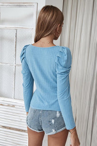 Square Collar Knitted Thin T-Shirt Long Sleeve
