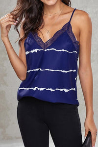 Slim Sleeveless V-Neck Lace Stitched Vest