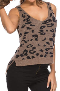 Leopard Print Loose Knitted Vest